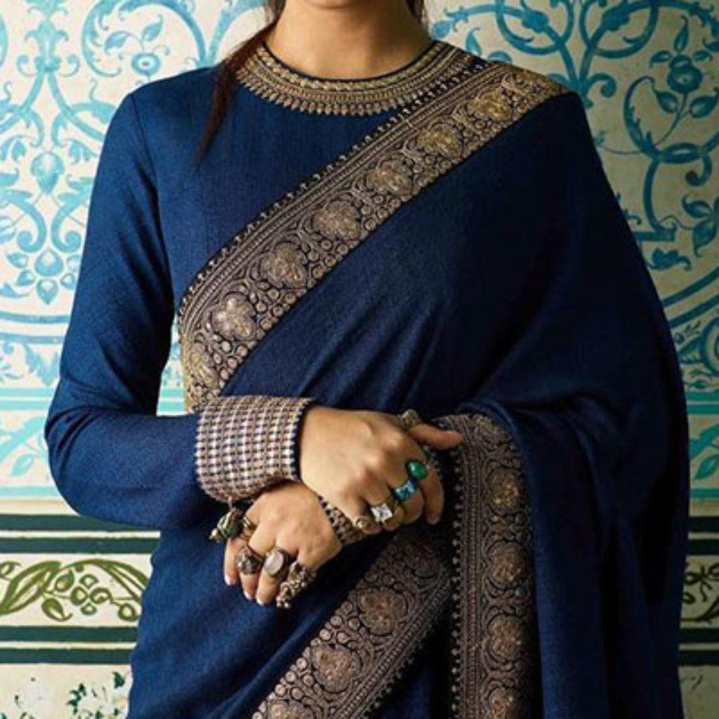Full Sleeves blouse with Banarasi Saree