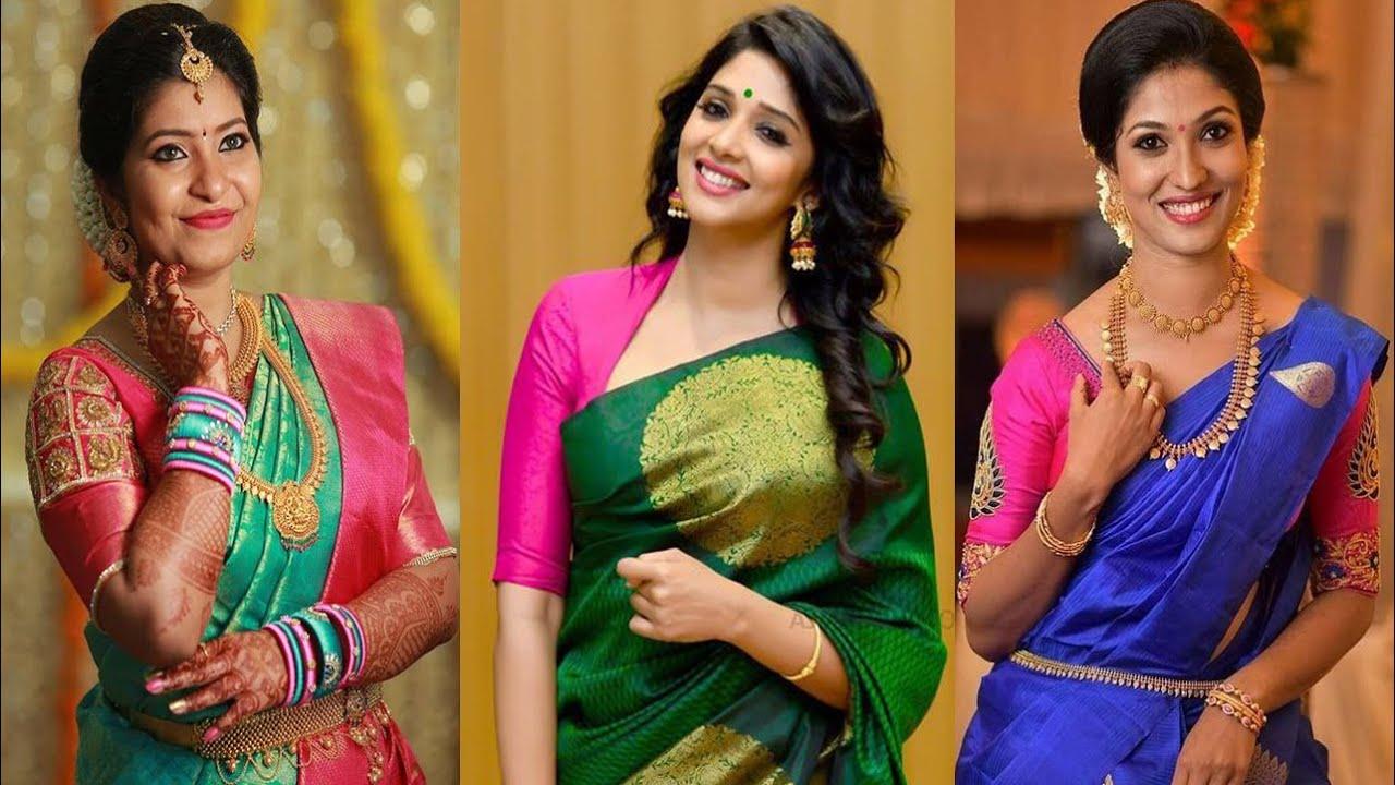 lowback blouse with Banarasi saree